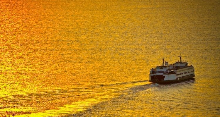 Ferry Sailing Across Seattle